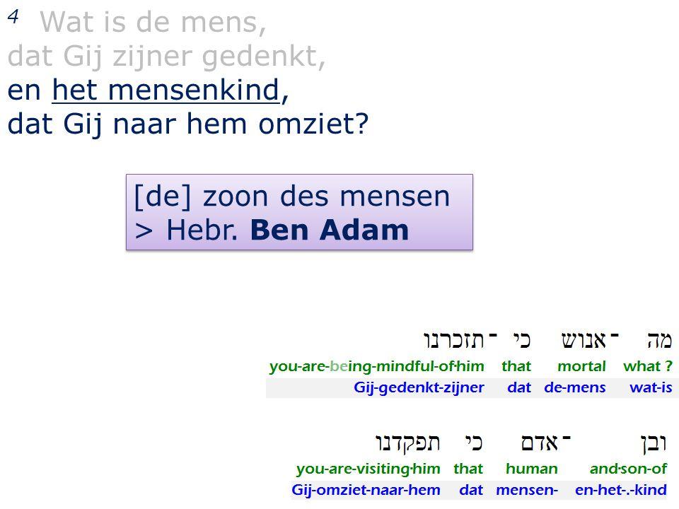 4 Wat is de mens, dat Gij zijner gedenkt, en het mensenkind, dat Gij naar hem omziet [de] zoon des mensen.